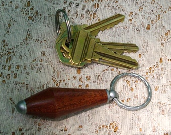 Hand Turned African Mahogany Key Fob Keychain from BlackWater Workshops