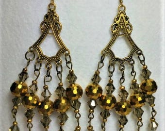 Taupe Swarovski Crystals, Gold Color Chandelier Earrings