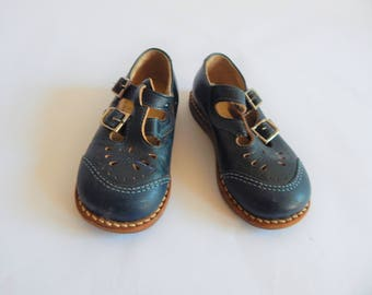 Vintage Navy Blue Leather Mary Janes Toddler sz 9W