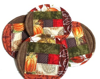 Fabric Coasters, Fall Quilted Mug Rugs, Round Coasters, Autumn