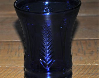 "Dark Cobalt Depression FEATHER Tumbler 4 1/2"" Glass HAZEL ATLAS"
