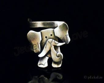 Sterling Silver Elephant Ring - Ellie