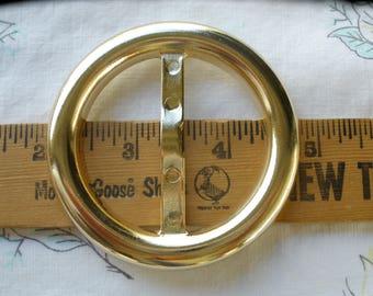 "Basic Gold Plastic Scarf Slide Round buckle 2"" opening t-shirt slider ribbon embellishment plain 2.75"" cosplay costume sarong tie"