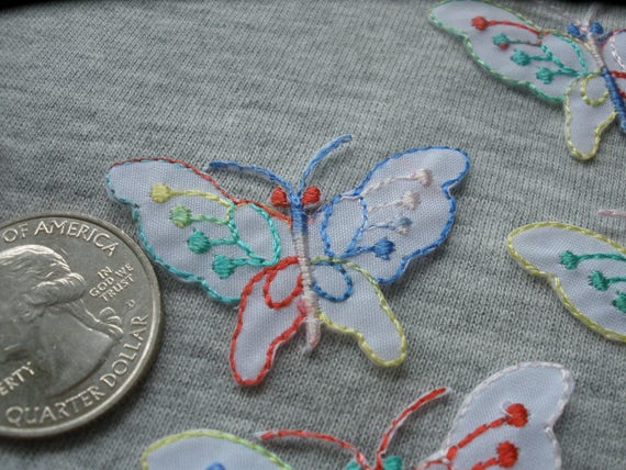 Little Fusible Butterfly Appliques Embroidered Iron On