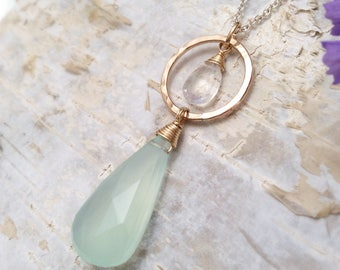 Aqua Chalcedony and Rainbow Moostone, 14k Gold Filled Circle Drop Pendant Necklace