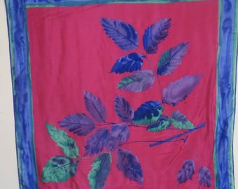"Large Silk Scarf VERA 28"" X 29""  #014"