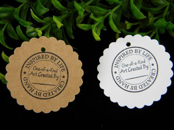 Gift Tags | Kraft or White Cardstock 2 Inch Circle | Hang Tag | Inspired by Life - Created By Hand - Hand Stamped | Price Tags | ecofriendly