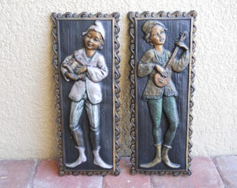 """Vintage Bouzouki Harp Picture Plaque Set Of 2 Boys Playing, 21 1/2"""" Tall"""