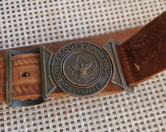 Vintage Boy Scouts of America be prepared Belt Buckle with Leather Belt, FREE Domestic Shipping