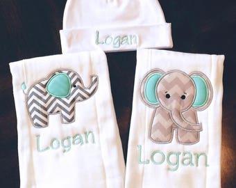 Elephant Burp Cloth Set with Newborn Hat