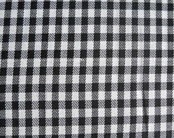 Black and White Gingham Weave Plaid Fabric, Fabric by the Yard