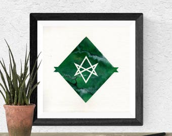 Original Watercolor Green Diamond Alchemy Alchemical Sigil Geometric Glyph Sacred Geometry Stone Marble Malachite Painting Galaxy Art OOAK