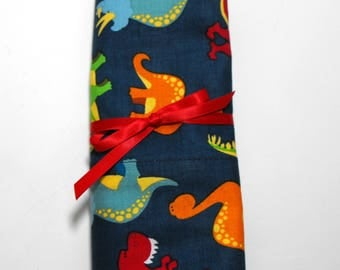 Dinosaur Pillow Case, Colorful Dinos on Navy Blue, Standard Size Pillowcase