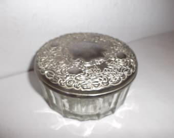 Antique Apothecary Jar Boudoir Vanity Dressing Table Pot with Pewter Lid