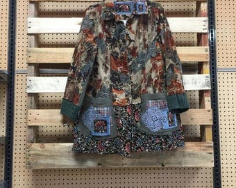 Upcycled Vintage Fall Jacket , Corduroy Coat, Patchwork Appliqué Artsy Clothing by simplycathrineann