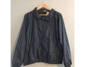90's Nylon Plaid Zip Up Collared Jacket