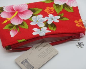 Hibiscus Makeup Bag, Tropical Travel Bag, Floral Cosmetics Clutch, Hawaiian Bag, Zip Pouch, Wet Sack, Makeup Pouch