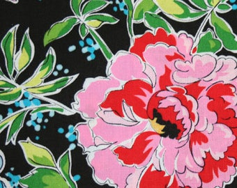 Floral Fabric, Pink and Aqua Blue Carnation Flowers on Black, Fabric Traditions, Needlecraft Fabrics