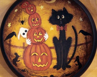 Folk Art Halloween Primitive Hand Painted Wood Bowl, Nervous Black Cats Watches as Tower of Pumpkins Topples, Ghost, Mice, MADE TO ORDER