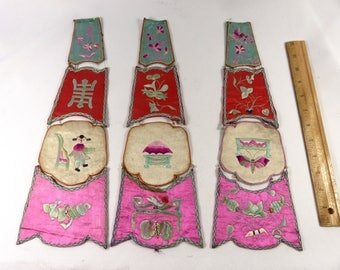 Antique Applique Rare Chinese Heavy Embroidered Silk Decorative 1930s Set of 3