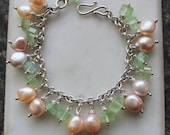 prehnite gem bead charm bracelet with freshwater pearls on sterling silver chain and handmade clasp 7 1/2 inches long