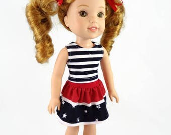 14 inch doll clothes, 4th of July, skirt, top,  doll clothes,  designed to fit like wellie wishers™ doll clothes, Independence Day