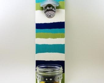 wall mount chrome plated/stainless steel bottle opener mason jar cap catcher stripes cedar wood