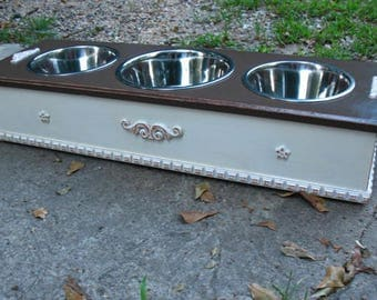 Raised Dog Feeder, Pet Feeding, Boxed Distressed White/Dark Brown, Cottage Chic, 2 Two Qt, 1 Three Qt, Stainless Bowls Made to Order