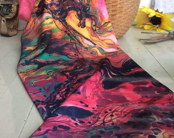 Horse Scarf - Sky Spirit  - Caught in the Thunderstorm  -  Silky faille scarf -    from original batik -