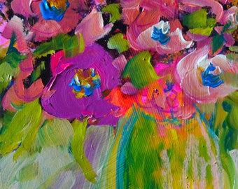 "Original Painting ""Brilliance""  Acrylic and Oil Pastel On Paper  by Claire McElveen  9"" x 12"""