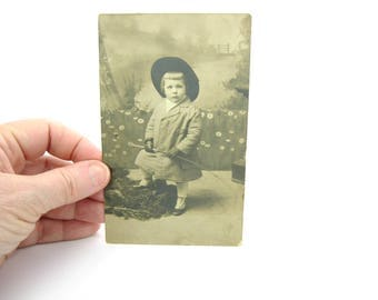 Edwardian Little Boy Antique Photo. Real Photo Postcard. Sepia Photograph. Equestrian Riding Habit, Spats, Crop Whip. 1910s RPP Collectible