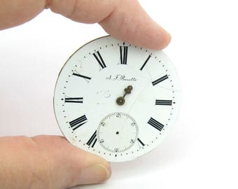 Watch Face & Movement. Parts, Jewels. Porcelain Enamel. Antique Pocket Watch. Jewelry Supply. Steampunk Style. Repair Reuse Repurpose.