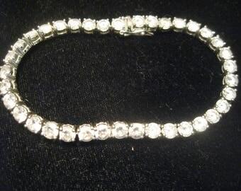 "Tennis Bracelet 925 sterling Silver 22.3 grams 8"" Vintage 60s near one oz"
