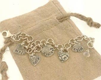 Multi charm bracelet, children's names, mother gift, grandmother gift, charm bracelet, gift for mom