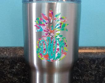 Reserved listing- RTIC Cup Lilly Pulitzer Monogram- 30 0z- insulated cup, monogrammed cup, cold cup, graduation gift, father's day gift