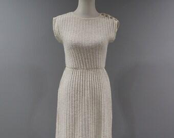 Vintage Womens Dress Size 6 8 Knit Off White