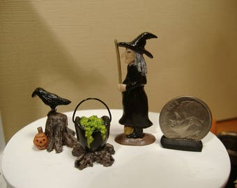 Barbie or 1:12 Scale Miniature Halloween Three Piece Witch Decorations