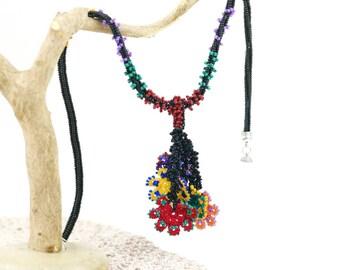 Necklace -Ethnic Handmade Crochet Beaded Unique Rainbow Floral Statement Bohemian Long Tassel Necklace, Crochet Oya Flower Jewelry