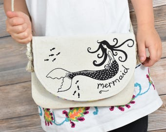 Girls Mermaid Bag, Organic Toddler Bag, Girls Mermaid Gift, Mermaid Purse, Little Girls Purse, Toddler Gift, Small Organic Bag Toddler Purse