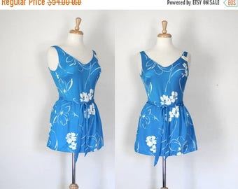 ON SALE 60s Bombshell Floral Tank Skirted Swimsuit