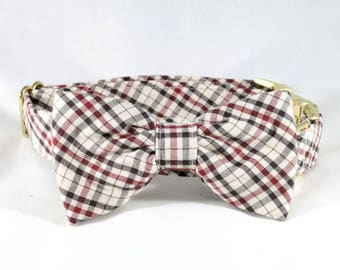 The Dapper Gent Classic Plaid Dog Bow Tie Collar, Tan and Maroon