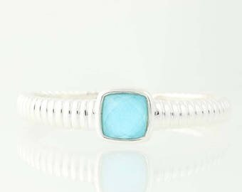 "Scalloped Cuff Bracelet Turquoise Under Quartz Sterling Silver 6.5"" Hinged U0004"