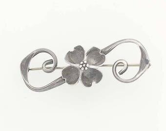 Vintage Dogwood Flower Brooch - Sterling Silver Stuart NYE Floral Pin G0089