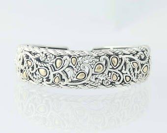 Cuff Bracelet Sterling Silver 14k Yellow Gold Scrolling Vines U0354