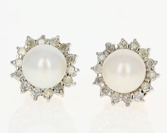 Cultured Pearl & Diamond Halo Earrings - 14k Gold Pierced Round Brilliant .38ctw U1581