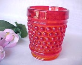 Vintage Westmoreland American Hobnail Amberina Whiskey Glass or L.E. Smith Toothpick Holder, Depression Era Line 77 Barware Shot Glass