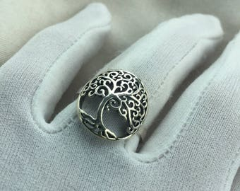 Vintage 1970's 925 Sterling Silver tree of life filligree Ring