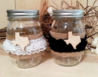 Bride and Groom Decorated Mason Jar Set for Texas Wedding Table Decor, Decorative Jars with Burlap and State of Texas Wooden Cutouts