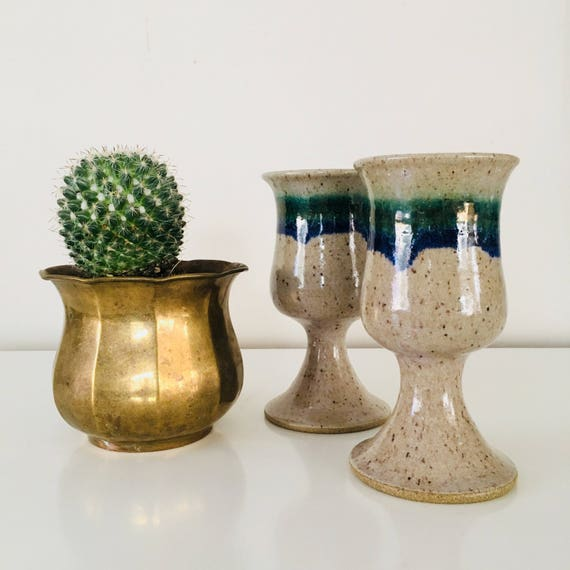 Vintage Stoneware Goblets Set of (2) Ceramic Stoneware Cups Pottery Wine Glasses Hand Thrown Ceramic Cups