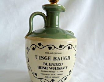 Vintage whiskey jug, Tullamore Dew Uisge Baugh Irish Whiskey porcelain flagon, bottle with stopper